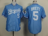 Mitchell and Ness Kansas City Royals #5 George Brett Light Blue Throwback Stitched MLB Jersey