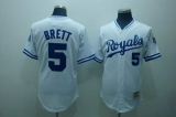 Mitchell and Ness Kansas City Royals #5 George Brett Stitched White Throwback MLB Jersey