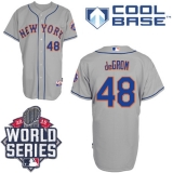New York Mets #48 Jacob DeGrom Grey Road Cool Base W 2015 World Series Patch Stitched MLB Jersey