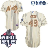 New York Mets #49 Jon Niese Cream Blue Strip  USMC Cool Base W 2015 World Series Patch Stitched MLB Jersey