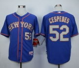 New York Mets #52 Yoenis Cespedes Blue Grey NO  Alternate Road Cool Base Stitched MLB Jersey