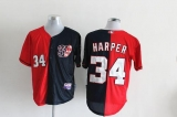 Washington Nationals #34 Bryce Harper Blue Red Split Fashion Stitched MLB Jersey
