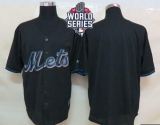 New York Mets Blank Black Fashion W 2015 World Series Patch Stitched MLB Jersey