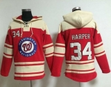 Washington Nationals #34 Bryce Harper Red Sawyer Hooded Sweatshirt MLB Hoodie