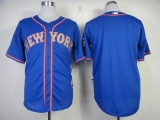 New York Mets Blank Blue Alternate Road Cool Base Stitched MLB Jersey