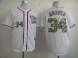 Washington Nationals #34 Bryce Harper White USMC Cool Base Stitched MLB Jersey