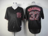 Washington Nationals #37 Stephen Strasburg Black Fashion Stitched MLB Jersey
