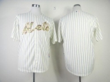 New York Mets Blank Cream Blue Strip  USMC Cool Base Stitched MLB Jersey