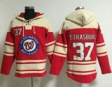 Washington Nationals #37 Stephen Strasburg Red Sawyer Hooded Sweatshirt MLB Hoodie
