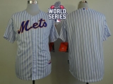 New York Mets Blank White Blue Strip  Home Cool Base W 2015 World Series Patch Stitched MLB Jersey