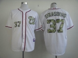 Washington Nationals #37 Stephen Strasburg White USMC Cool Base Stitched MLB Jersey