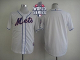 New York Mets Blank White Cool Base W 2015 World Series Patch Stitched MLB Jersey