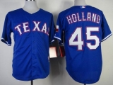 Texas Rangers #45 Derek Holland Stitched MLB Blue Cool Base Jersey