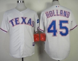 Texas Rangers #45 Derek Holland White Cool Base Stitched MLB Jersey