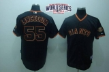 San Francisco Giants #55 Tim Lincecum Black W 2014 World Series Patch Stitched MLB Jersey