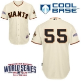 San Francisco Giants #55 Tim Lincecum Cream Cool Base W 2014 World Series Patch Stitched MLB Jersey