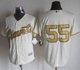 San Francisco Giants #55 Tim Lincecum Cream Gold No  New Cool Base Stitched MLB Jersey