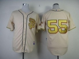 San Francisco Giants #55 Tim Lincecum Cream Gold No  Stitched MLB Jersey