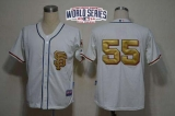 San Francisco Giants #55 Tim Lincecum Cream Gold No W 2014 World Series Patch Stitched MLB Jersey