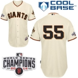 San Francisco Giants #55 Tim Lincecum Cream W 2014 World Series Champions Patch Stitched MLB Jersey