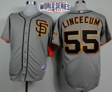 San Francisco Giants #55 Tim Lincecum Grey Cool Base Road 2 W 2014 World Series Patch Stitched MLB Jersey