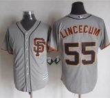 San Francisco Giants #55 Tim Lincecum Grey Road 2 New Cool Base Stitched MLB Jersey
