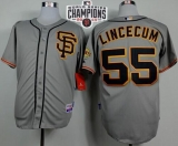 San Francisco Giants #55 Tim Lincecum Grey Road 2 W 2014 World Series Champions Patch Stitched MLB Jersey
