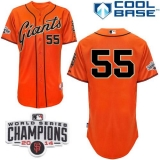 San Francisco Giants #55 Tim Lincecum Orange W 2014 World Series Champions Patch Stitched MLB Jersey
