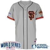 San Francisco Giants Blank Grey Cool Base 2012 Road 2 W 2014 World Series Patch Stitched MLB Jersey