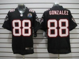 Nike Falcons #88 Tony Gonzalez Black Alternate With Hall of Fame 50th Patch Men\'s Stitched NFL Elite Jersey