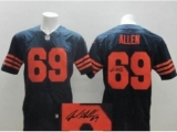 Nike Chicago Bears 69 Jared Allen Blue Orange Number Signed Elite NFL Jerseys