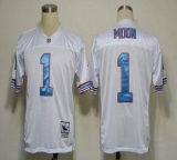 Mitchell And Ness Oilers #1 Warren Moon White Stitched Throwback NFL Jersey