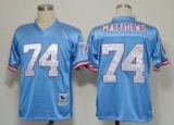 Mitchell And Ness Oilers #74 Bruce Matthews Baby blue Stitched Throwback NFL Jersey