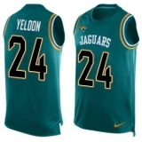 Nike Jaguars #24 T J Yeldon Teal Green Team Color Men\'s Stitched NFL Limited Tank Top Jersey