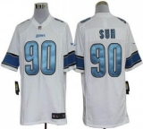 Nike Lions #90 Ndamukong Suh White Men\'s Stitched NFL Game Jersey