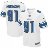 Nike Lions #91 A\'Shawn Robinson White Men\'s Stitched NFL Elite Jersey