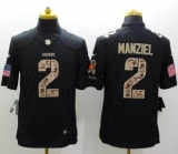 Nike Denver Browns #2 Johnny Manziel Black NFL Limited Salute to Service jersey