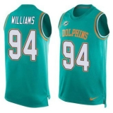 Nike Miami Dolphins #94 Mario Williams Aqua Green Team Color Men\'s Stitched NFL Limited Tank Top Jersey