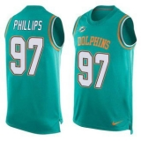 Nike Miami Dolphins #97 Jordan Phillips Aqua Green Team Color Men\'s Stitched NFL Limited Tank Top Jersey