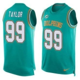 Nike Miami Dolphins #99 Jason Taylor Aqua Green Team Color Men\'s Stitched NFL Limited Tank Top Jersey
