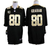 Nike Saints #80 Jimmy Graham Black Team Color With C Patch Men\'s Stitched NFL Game Jersey