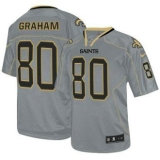 Nike Saints #80 Jimmy Graham Lights Out Grey Men\'s Stitched NFL Elite Jersey