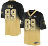 Nike Saints #89 Josh Hill Black Gold Men\'s Stitched NFL Elite Fadeaway Fashion Jersey