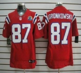 Nike Patriots #87 Rob Gronkowski Red Alternate With Hall of Fame 50th Patch Men\'s Stitched NFL Elite Jerse