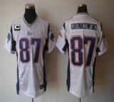 Nike Patriots #87 Rob Gronkowski White With C Patch Men\'s Stitched NFL Elite Jersey