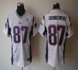 Nike Patriots #87 Rob Gronkowski White With Hall of Fame 50th Patch Men\'s Stitched NFL Elite Jersey