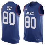 Nike New York Giants #80 Victor Cruz Royal Blue Team Color Men\'s Stitched NFL Limited Tank Top Jersey