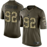 Nike New York Giants #92 Michael Strahan Green Men\'s Stitched NFL Limited Salute to Service Jersey