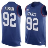 Nike New York Giants #92 Michael Strahan Royal Blue Team Color Men\'s Stitched NFL Limited Tank Top Jersey