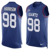 Nike New York Giants #98 Damon Harrison Royal Blue Team Color Men\'s Stitched NFL Limited Tank Top Jersey